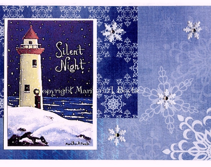 ACEO CHRISTMAS CARD; lighthouse, silent night, 2.5 x 3.5 inches, collage,collector's item, miniature art, from original art