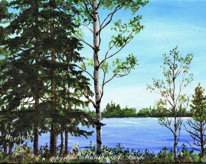 ORIGINAL ACRYLIC PAINTING; lake scene, Northwestern Ontario, Canadian art, miniature painting, 5 x 7 inches, wall art, canvasboard,