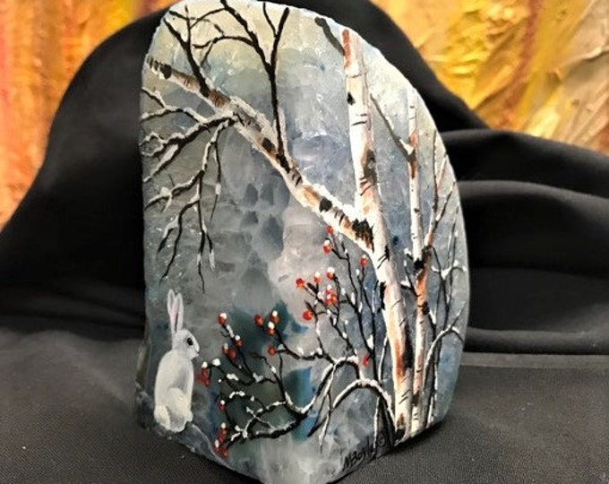 """HAND PAINTED """"BOOKEND"""" Stone; birches, berries and bunny, winter, pale blue stone, frost look,shelf art, one of a kind,"""