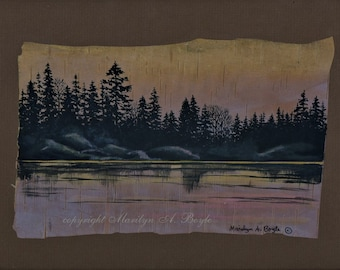 HAND PAINTED BIRCH bark, original art, wall art, 8 x 10 inches, ready to frame, at dusk, shoreline,