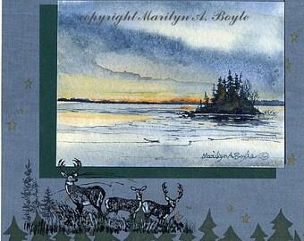 ORIGINAL WATERCOLOR PAINTING; miniature, collage, lake scene, island, deer, trees, art, Canada, stamp,