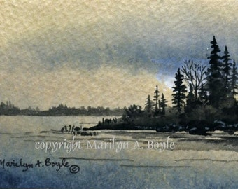 ACEO - ORIGINAL ACRYLIC; 2.50 x 3.50 inch card on 140 lb watercolor paper, storm's over, island and lake, Canadian art, collector's item,