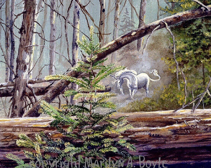 PRINT - FANTASY- UNICORN in the forest; art, acrylic, trees, glade, wall art, nature,