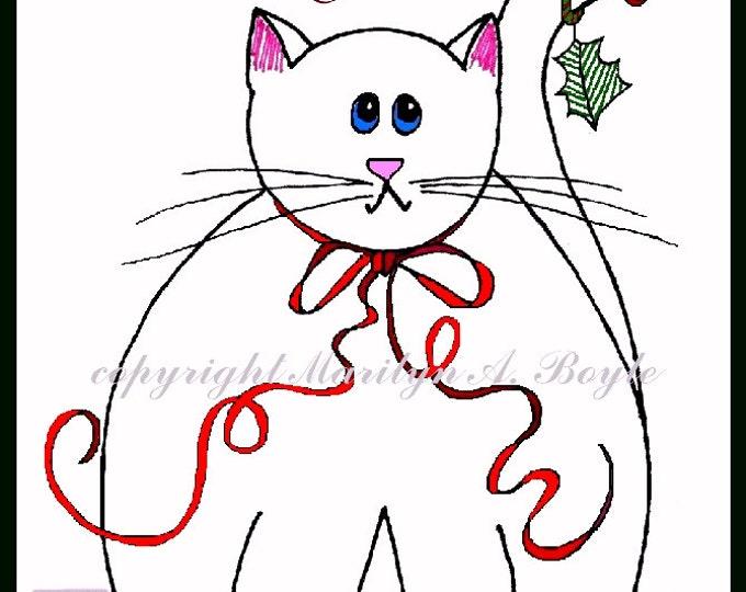 CARDS- FAT CATS Christmas, holidays, hand made, original art, white cat, orange tabby, grey tabby, Siamese, orange tabby,