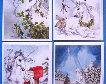 CHRISTMAS UNICORN CARDS; set of four, unicorns in winter scenes, from original art work, blank cards, approximately 4 x 5 inches