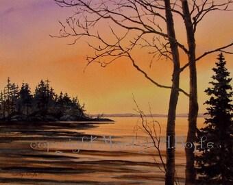 ORIGINAL WATERCOLOR PAINTING, Canadian art,wall art,sunset on the lake, island,nature,wilderness, original art,