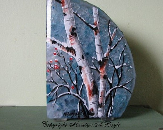 """HAND PAINTED """"BOOKEND"""" Stone; birches and berried, winter, pale blue stone, frost look,shelf art, one of a kind,"""
