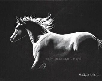 ORIGINAL ACRYLIC - HORSE Painting; black and white, 9 x 12 inch wrap around canvas, Midnight Run, wall art, equine art,