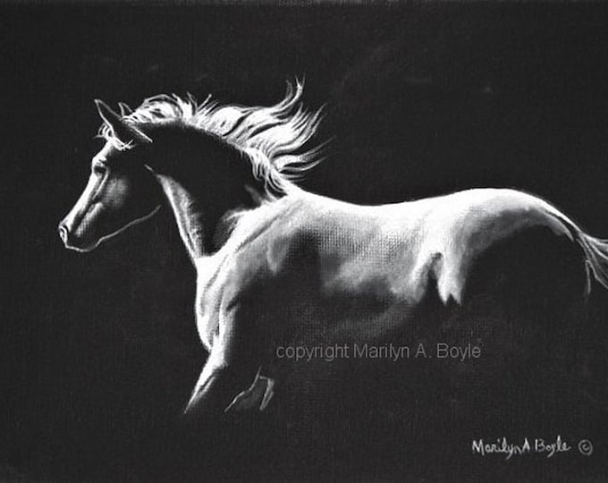 ORIGINAL ACRYLIC - HORSE Painting; black and white, 9 x 12 inch wrap around canvas, Midnight Run, wall art, equine art,