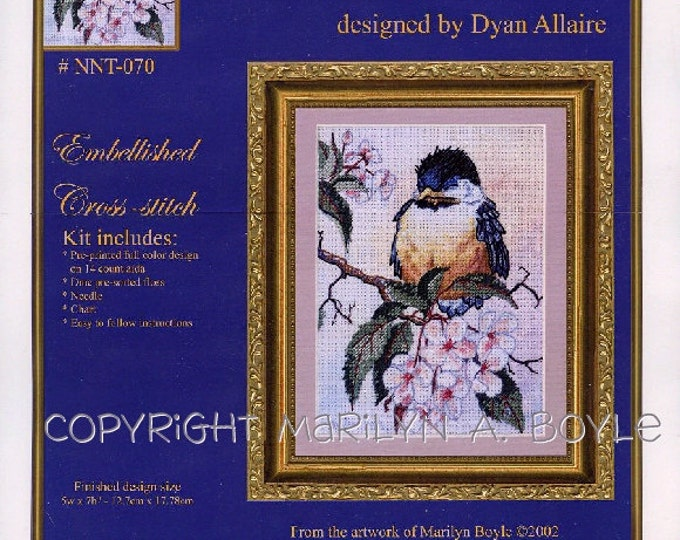 Baby Chickadee - EMBELLISHED CROSS-STITCH Kit; song bird, nature, apple blossoms, from my art work,