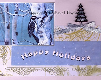 CHRISTMAS ACEO CARD; downy woodpecker, 2.5 x 3.5 inches, miniature art, collage, from orginal art, happy holidays, collector's item