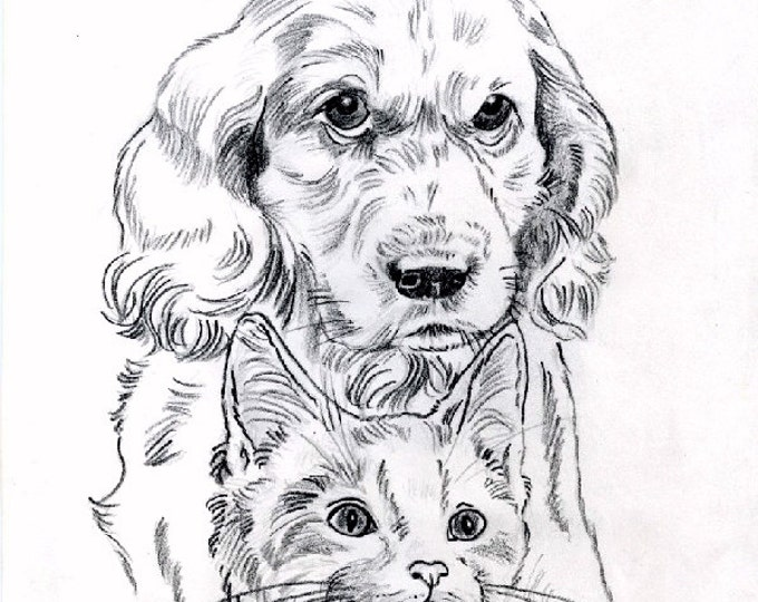 PRINT - PENCIL DRAWING; art, graphite, puppy and kitten, dog, cat, animals