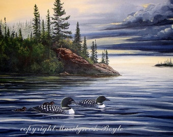 ORIGINAL ACRYLIC PAINTING;loons,free shipping,scene wilderness,Canadian art,lake,storm clouds,nature,wall art, 24x28 inches
