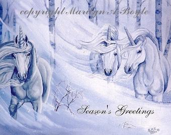 SET of FOUR UNICORN cards, invitation size, approximately 4 x 5 inches, winter unicorns, Christmas cards,