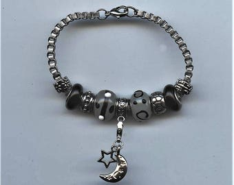 BRACELET-MOON and STAR; Pandora Type, black, silver and gray, removable moon and star charm, jewelry, one of a kind, lobster clasp