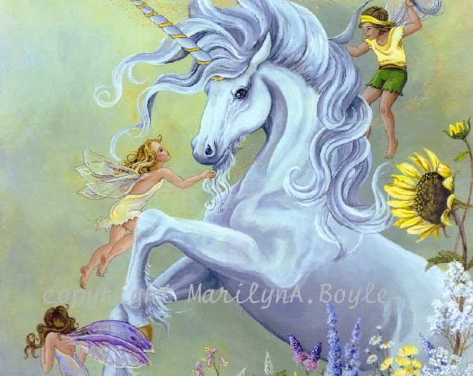 GICLEE UNICORN and FAIRIES; fantasy, dancing in the garden, playful, flowers, 13 x 16 inches, wall art, for girl's, for her, fantasy print