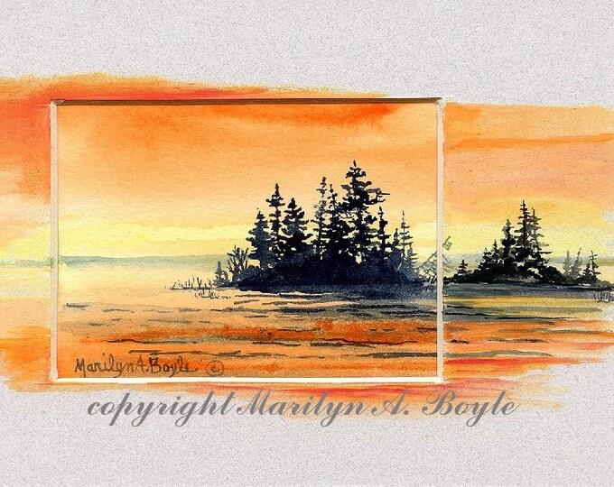 ORIGINAL WATERCOLOR PAINTING; acrylic, miniature, hand made, scene, nature, island, sunset, lake, water, wilderness, Canada