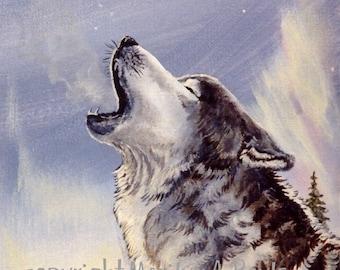 PRINT- WILDLIFE -WOLF; howling, winter, nature, wilderness, wolf print, Canadian art,