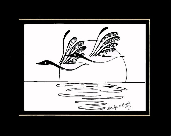 ORIGINAL INK DRAWING; 20% off, Canada Geese, ink drawing, original art,Canadian art, nature, wilderness, wings, feathers, wall art,