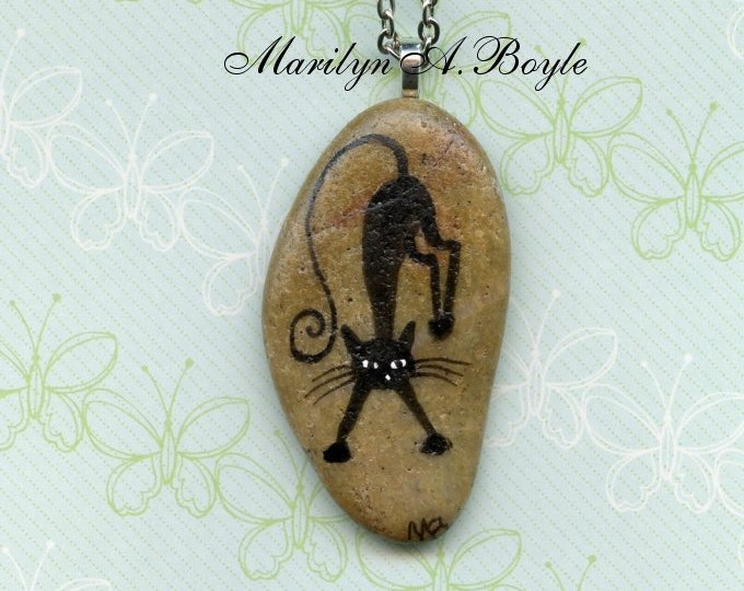 HAND PAINTED STONE; cat pendant, natural stone, jewelry, necklace, wearable art, black cat, 26 inch chain