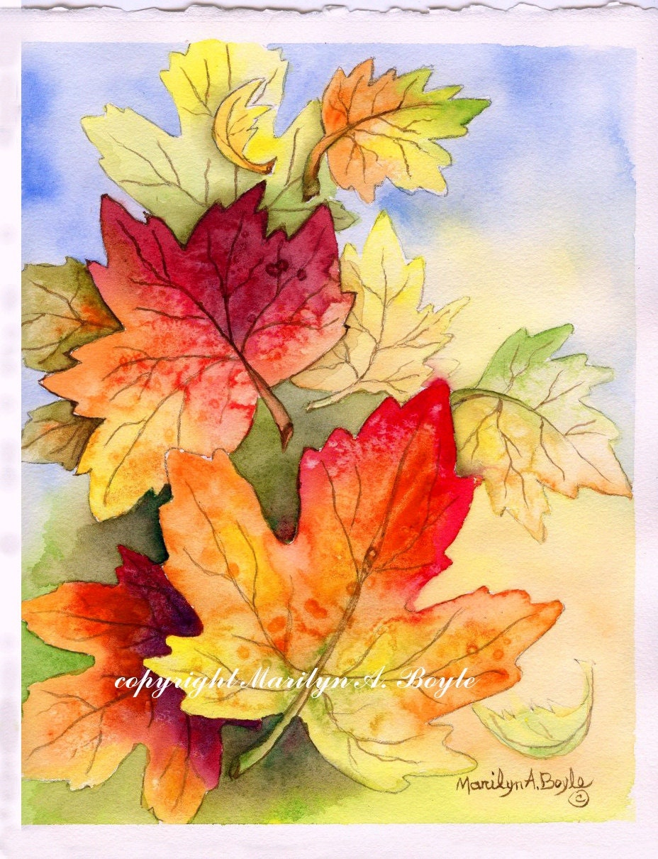 LEAVES - ORIGINAL WATERCOLOR; wall art, autumn leaves, falling ...