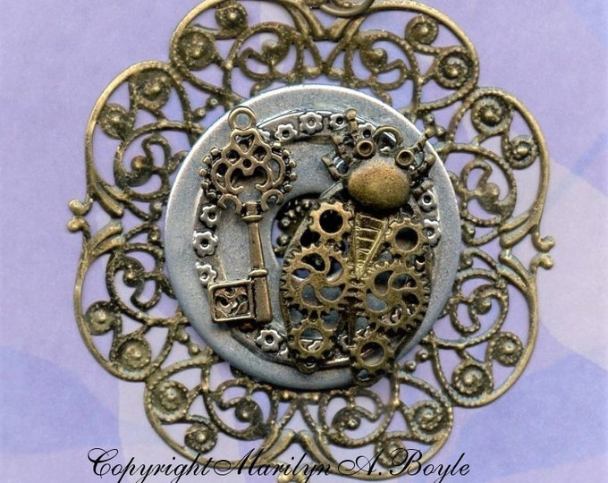 HAND MADE-PENDANT-Steampunk; Round filigree base, metals, jewelry, necklace, one of a kind, unique, statement, 28 inch chain