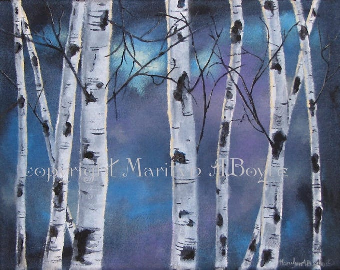 ACRYLIC PAINTING ORIGINAL; free shipping, Canadian art, wall art, 11 x 14 inches, wrap around canvas, birch trees, moonlight, denim canvas