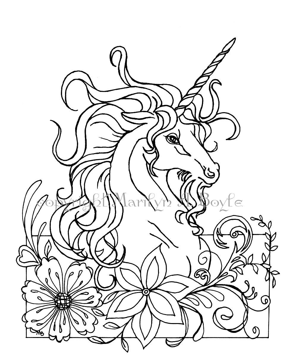 COLORING PAGE UNICORN fantasy digital download flowers