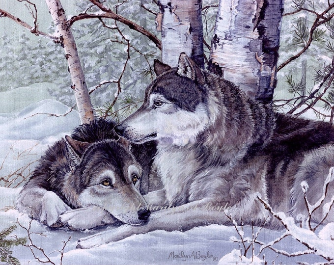 PRINT- WOLVES - PAIR;  grey wolf pair, soulmates, devoted, winter, wilderness, wildlife, birches, snow, Canadian art, wildlife print