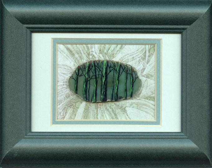 HAND PAINTED AGATE Framed, green forest, 5 x 7 inch wood frame, wall art, one of a kind, original art,