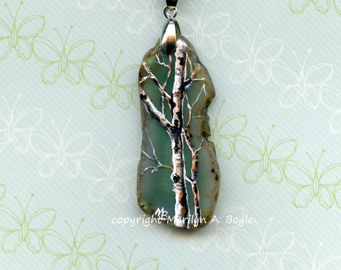 BIRCH HAND PAINTED Pendant; green agate, long stone, wearable art, original art, one of a kind, 18 inch silver chain