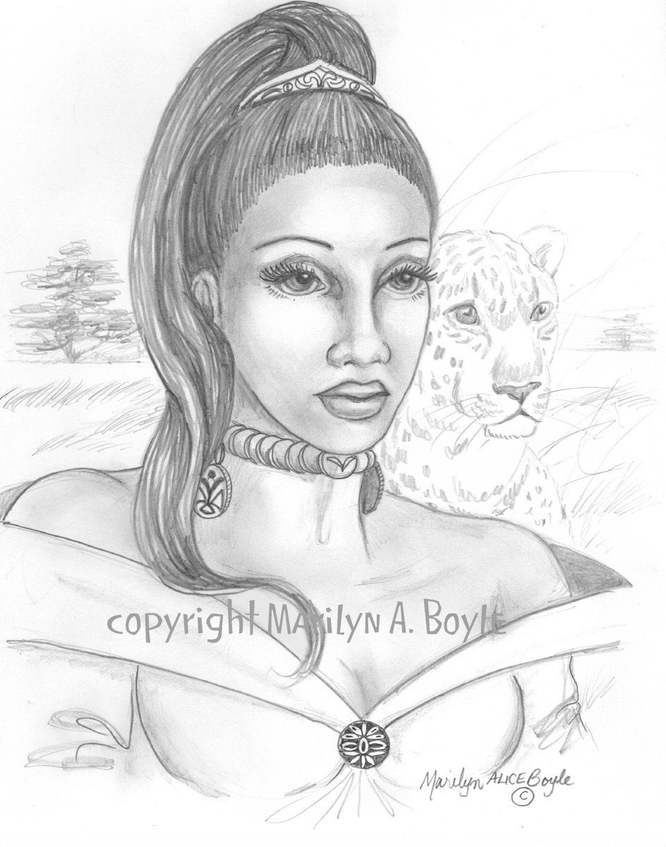 Original fantasy drawing woman africa veld leopard nature pencil drawing original art plains character portrait wall art