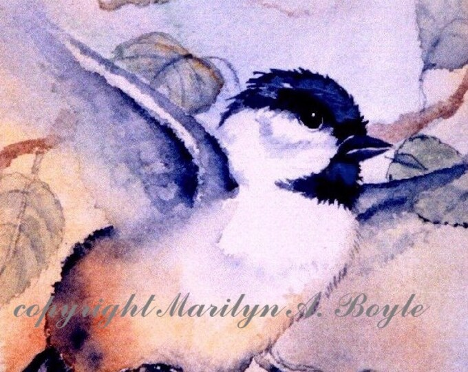 ACEO card LIMITED EDITION Print; run of 5, baby chickadee, flight, watercolor, wings, feathers feathers, nature, wildlife, 2.5 x 3.5 inches,