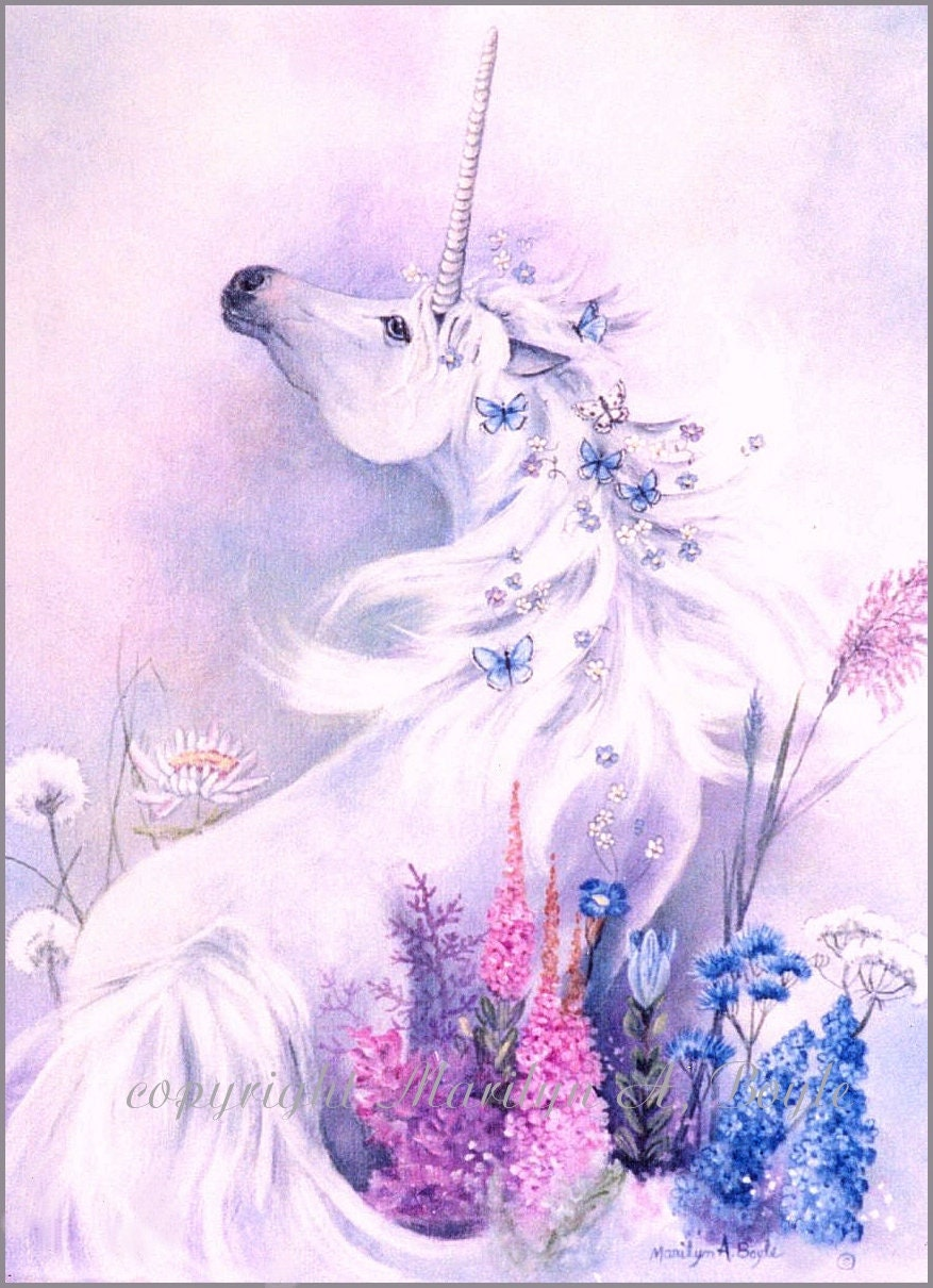 Blue Enchantment Unicorn Print Two Colors Pink And Blue