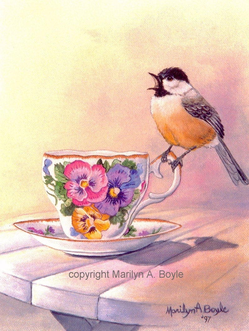 from original art, teacups 4 x 5.5 inches with envelopes blank cards The TEACUP SERIES garden birds CARDS- set of four