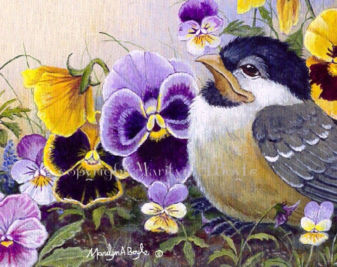 ACEO LIMITED EDITION card; 2.5 x 3.5 inches,art trading card,collectibel item,baby chickadee, pansies, flowers, garden, nature