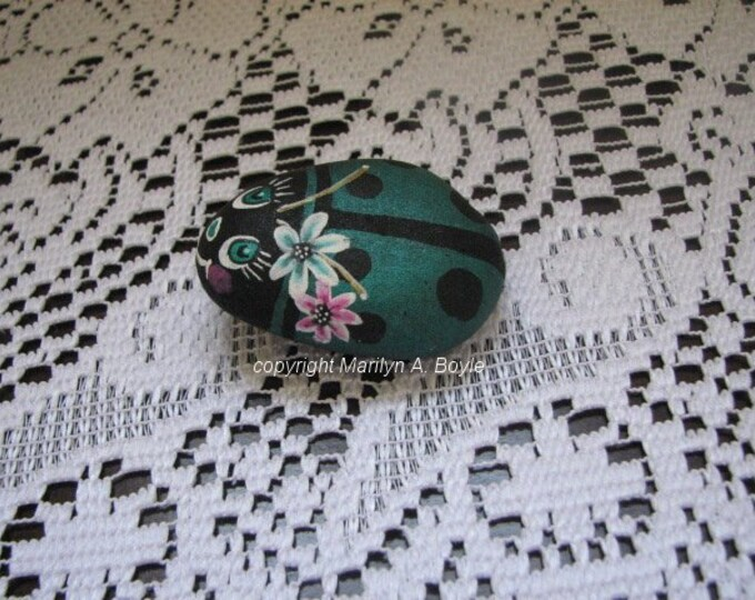 HAND PAINTE STONE; Lake Superior stone, lady bug, for the garden or flower pot, pocket rock,