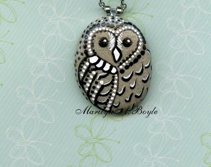 STONE OWL PENDANT; Hand Painted, one of a kind, wearable art, natural stone, jewelry, necklace, 22 inch chain