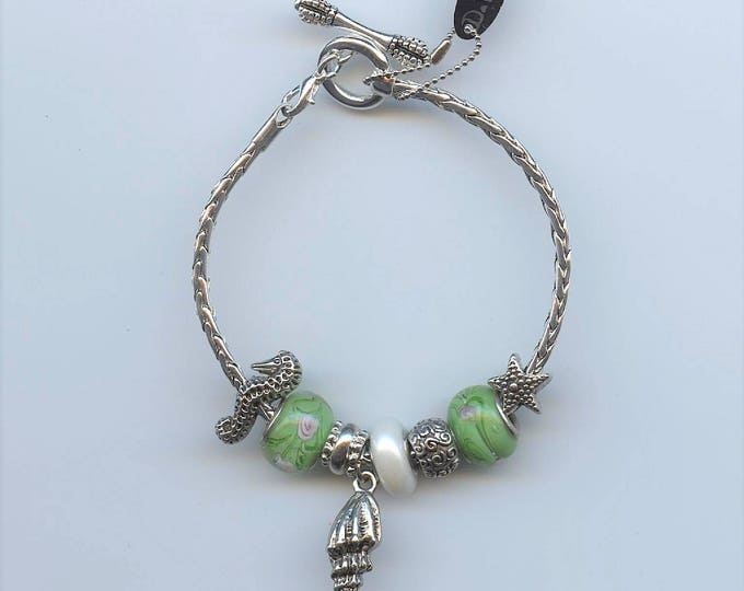 HAND MADE BRACELET; Pandora Type, under the sea, seashell charm, seahorse, starfish,green beads, mother of pearl bead, 8.5 inch silver chain