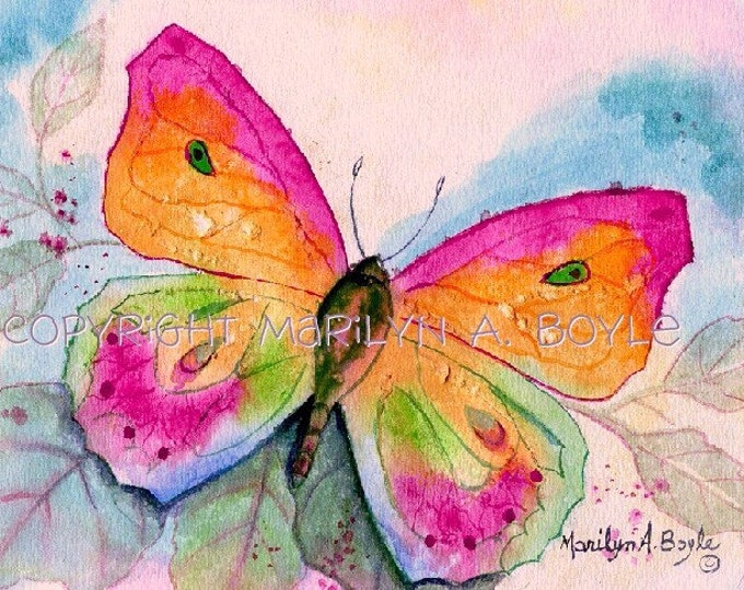 BUTTERFLY PRINT - GIRL'S Room;  approximately 8 x 10 inches, on 90 pound watercolor paper, child's room, senior's room, wall art,