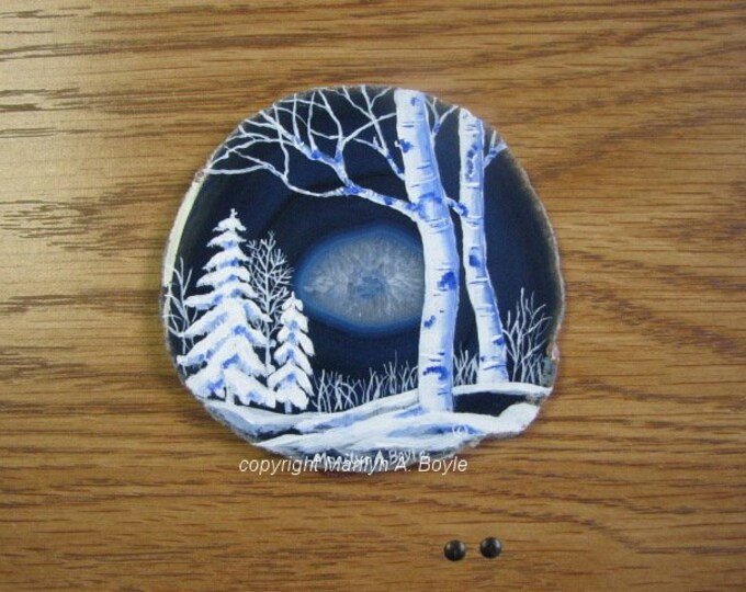 AGATE- WINTER SCENE; Hand Painted, one of a kind, shelf or desk art, miniature art, acrylic stand, original art, Canadian art,