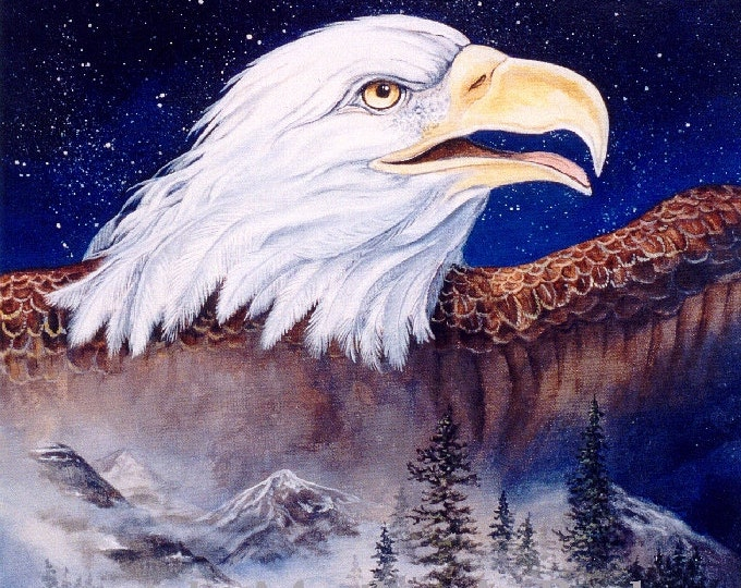 PRINT - Bald Eagle, glorious and free,  print, bird of prey, nature, wilderness, wings, stars, constellation,