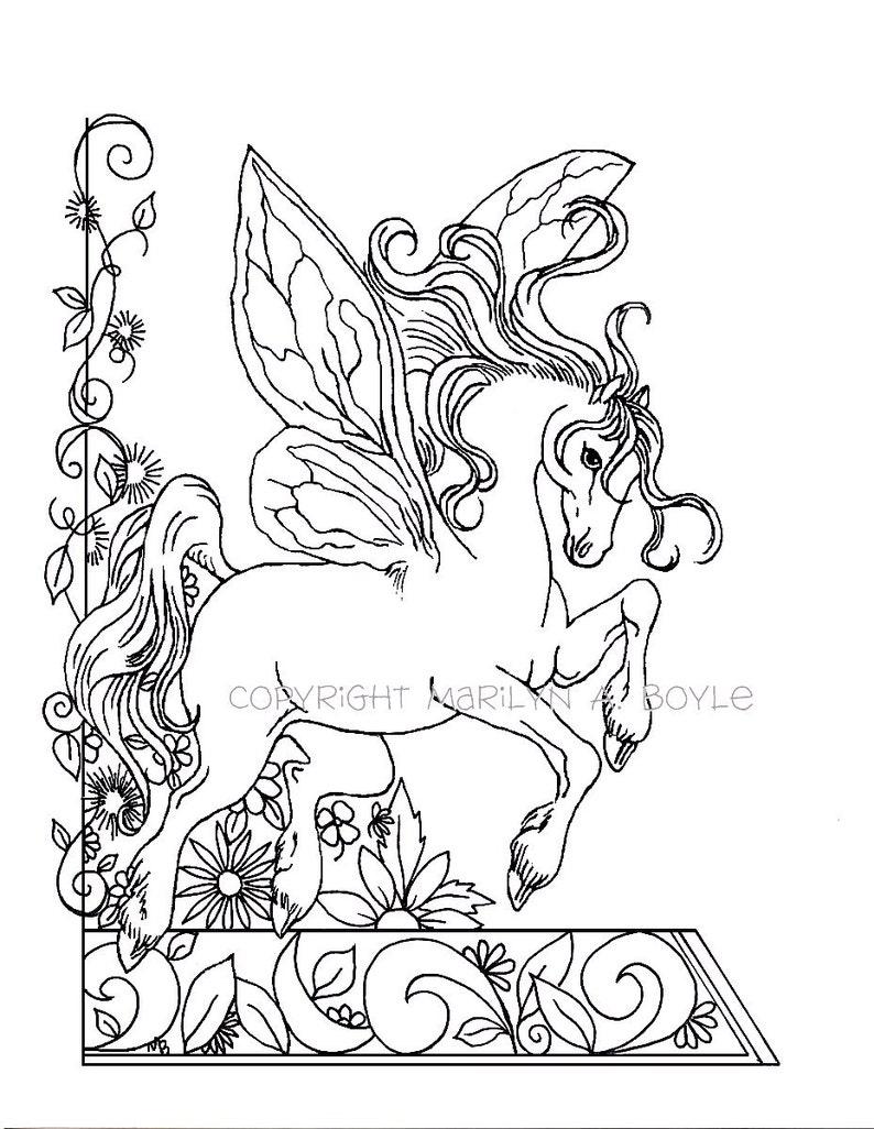 Kleurplaten Fantasie Volwassenen.Volwassen Kleurplaat Fantasie Sprookje Paard Bloemen Tuin Natuur Digitale Download