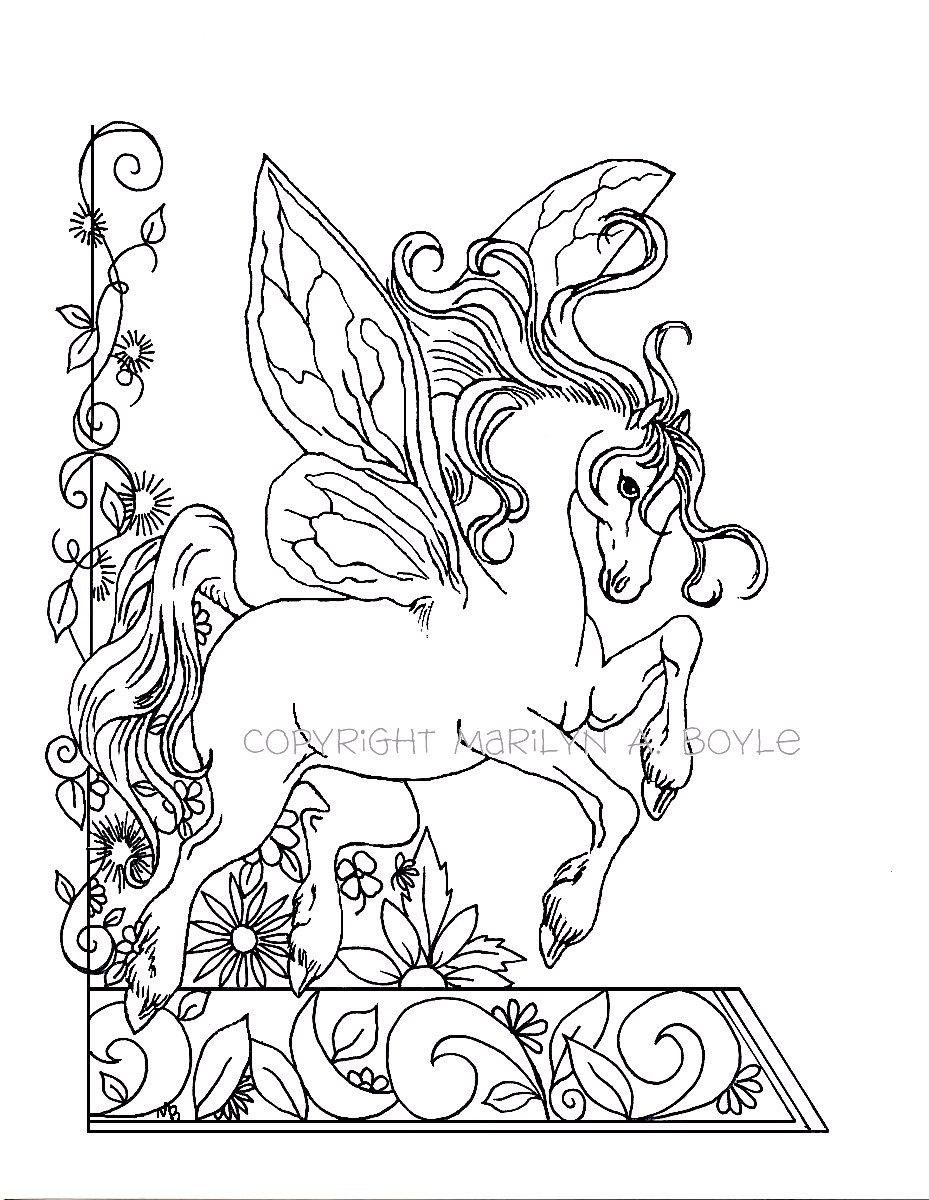 PÁGINA PARA COLOREAR ADULTOS fantasía caballo de hadas | Etsy