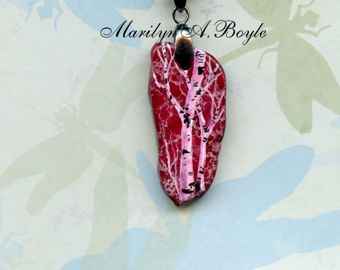 BIRCHES PENDANT- HAND Painted; pink stone and birches, irregular stone, one of a kind, jewelry, necklace, wearable art,