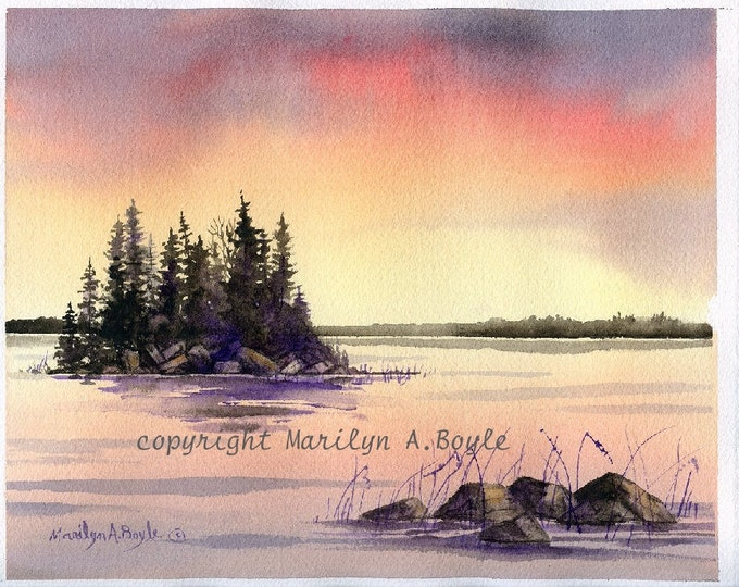 ORIGINAL WATERCOLOR PAINTING -free shipping, Canadian sunset, lake, island, rocks, reeds, nature, wilderness, Canadian art