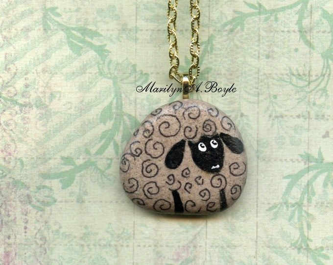 HAND PAINTED STONE, sheep pendant, fun jewelry, necklace, natural stone, wearable art, 24 inch chain