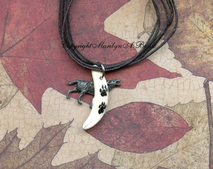 HAND PAINTED WOLF Tooth; wolf tracks, wolf charm, 16 inch multi strand leather cords, wearable art, one of a kind, choker