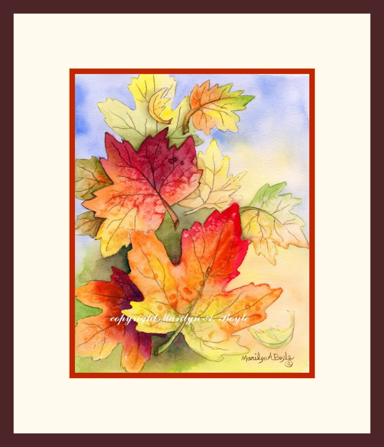 LEAVES - ORIGINAL WATERCOLOR; wall art, autumn leaves, falling ...
