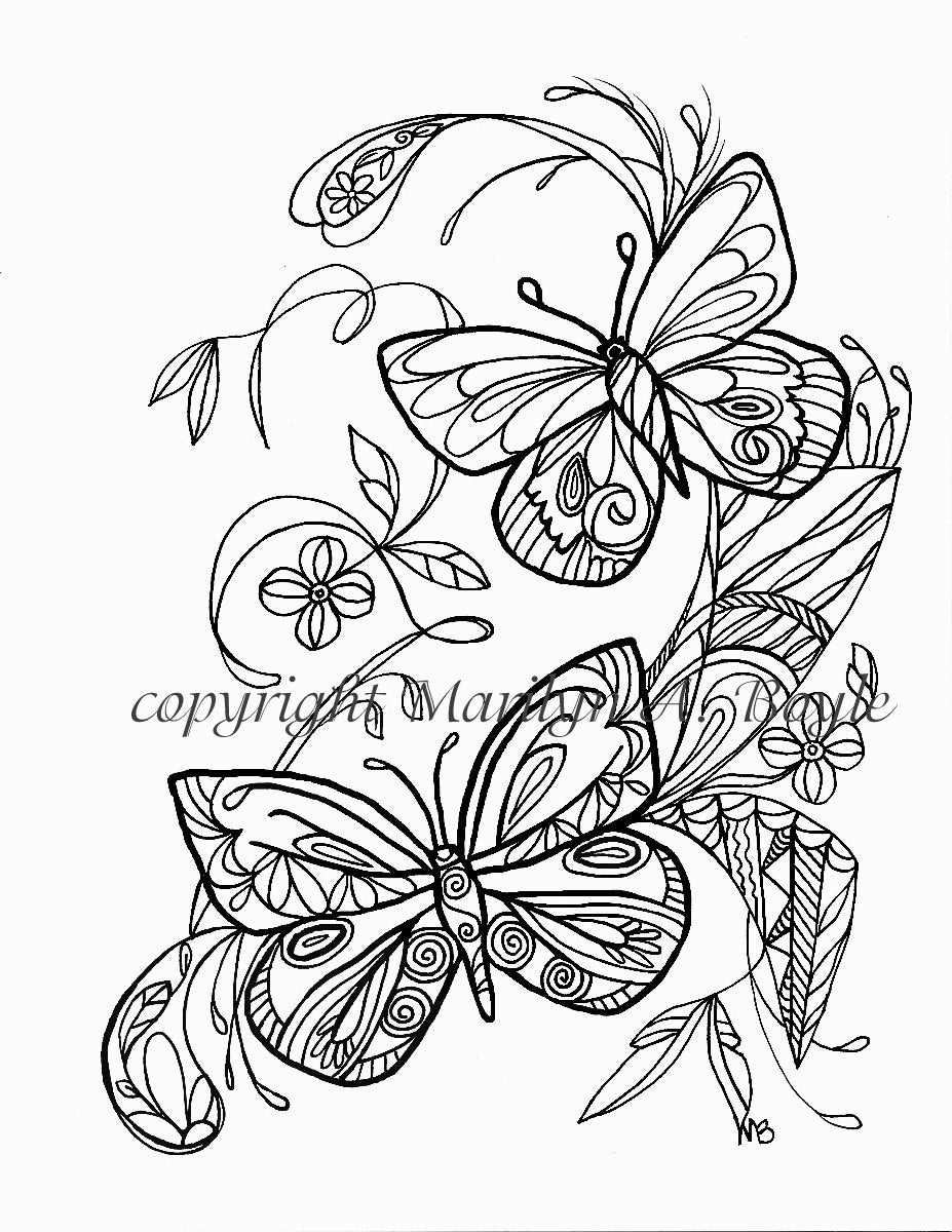 Set Of Five ADULT COLORING PAGES Digital Downloads Flowers
